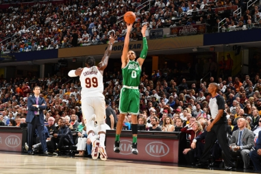 CLEVELAND, OH - OCTOBER 17: Jayson Tatum #0 of the Boston Celtics shoots the ball against the Cleveland Cavaliers on October 17, 2017 at Quicken Loans Arena in Cleveland, Ohio. NOTE TO USER: User expressly acknowledges and agrees that, by downloading and/or using this Photograph, user is consenting to the terms and conditions of the Getty Images License Agreement. Mandatory Copyright Notice: Copyright 2017 NBAE (Photo by Jesse D. Garrabrant/NBAE via Getty Images)