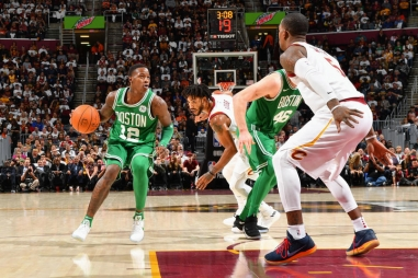CLEVELAND, OH - OCTOBER 17: Terry Rozier #12 of the Boston Celtics handles the ball against the Cleveland Cavaliers on October 17, 2017 at Quicken Loans Arena in Cleveland, Ohio. NOTE TO USER: User expressly acknowledges and agrees that, by downloading and/or using this Photograph, user is consenting to the terms and conditions of the Getty Images License Agreement. Mandatory Copyright Notice: Copyright 2017 NBAE (Photo by Jesse D. Garrabrant/NBAE via Getty Images)